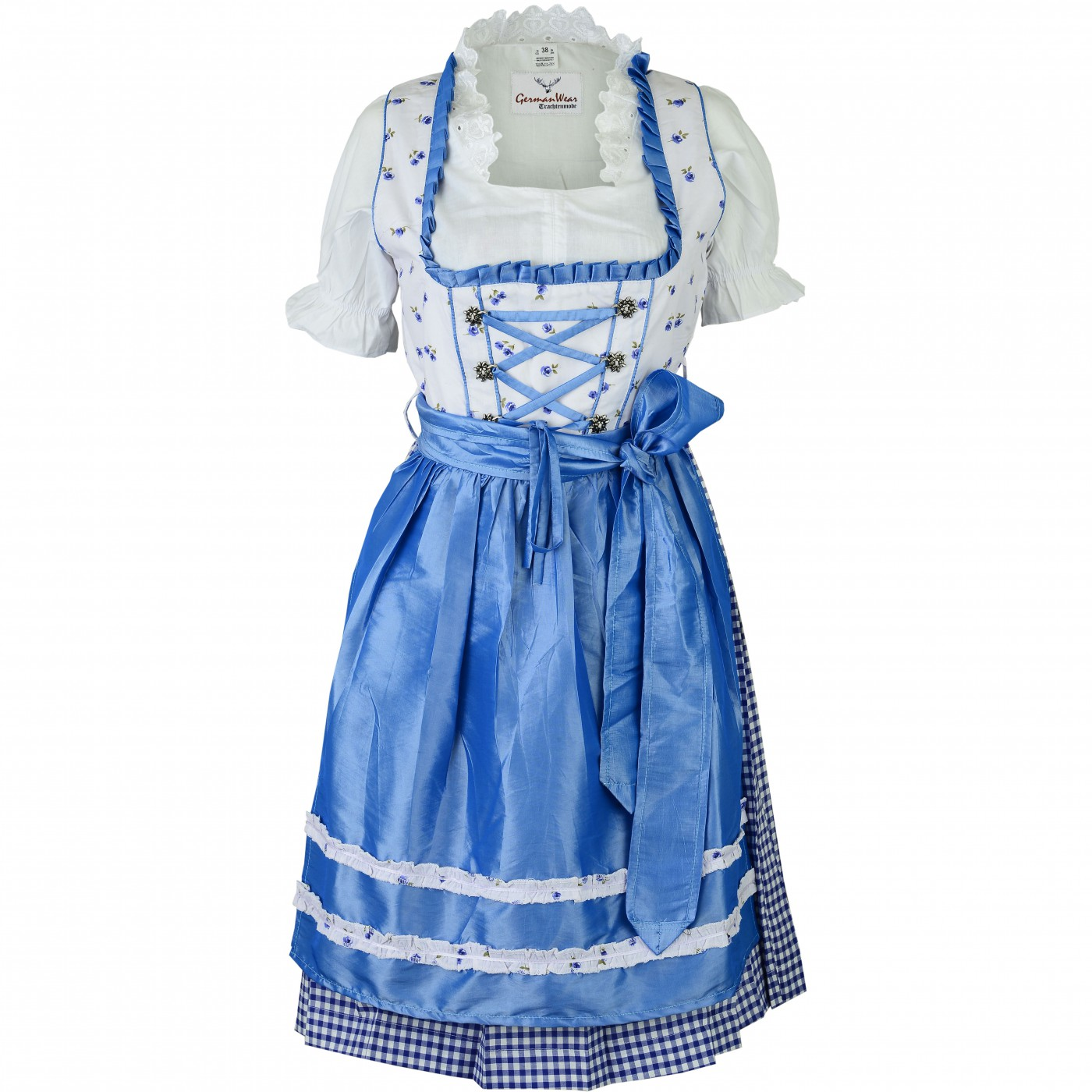 3 pieces midi dirndl dress set bavaria oktoberfest lederhosen blau wei. Black Bedroom Furniture Sets. Home Design Ideas