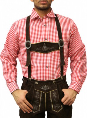 Traditional Bavarian Shirt For Lederhosen/Oktoberfest, Checkered – Bild 2