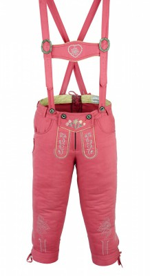 Knee length bavarian Jeans Lederhosen and Suspenders for oktoberfest, colour: Pink