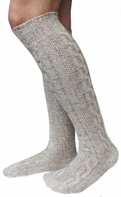 Extra long traditional socks, Stockings, Braided-look,Color: Cream/Mottled – Bild 1