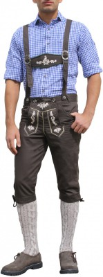 Knee length bavarian Jeans Lederhosen and Suspenders for oktoberfest, colour:brown – Bild 1