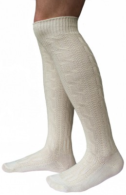 Long Traditional Socks, Knee Lengh Stockings, Braided-Look, Color:Cream – Bild 1