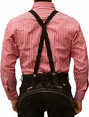 Traditional Bavarian Shirt For Lederhosen/Oktoberfest, Red/Checkered – Bild 2