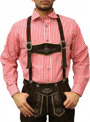 Traditional Bavarian Shirt For Lederhosen/Oktoberfest, Red/Checkered – Bild 1