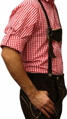 Traditional Bavarian Shirt For Lederhosen/Oktoberfest, Red/Checkered – Bild 3