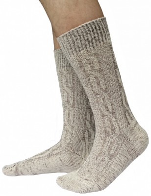 Short Traditional Socks, Stockings, Braided-Look,Color:Cream/ mottled – Bild 1