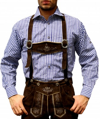 Traditional Bavarian Shirt For Lederhosen/Oktoberfest,Color:Dark Blue/checkered – Bild 1