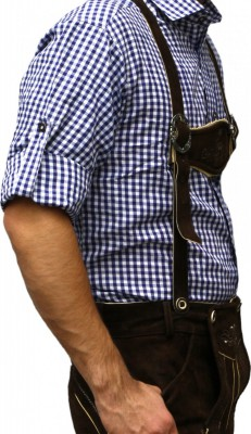 Traditional Bavarian Shirt For Lederhosen/Oktoberfest,Color:Dark Blue/checkered – Bild 3