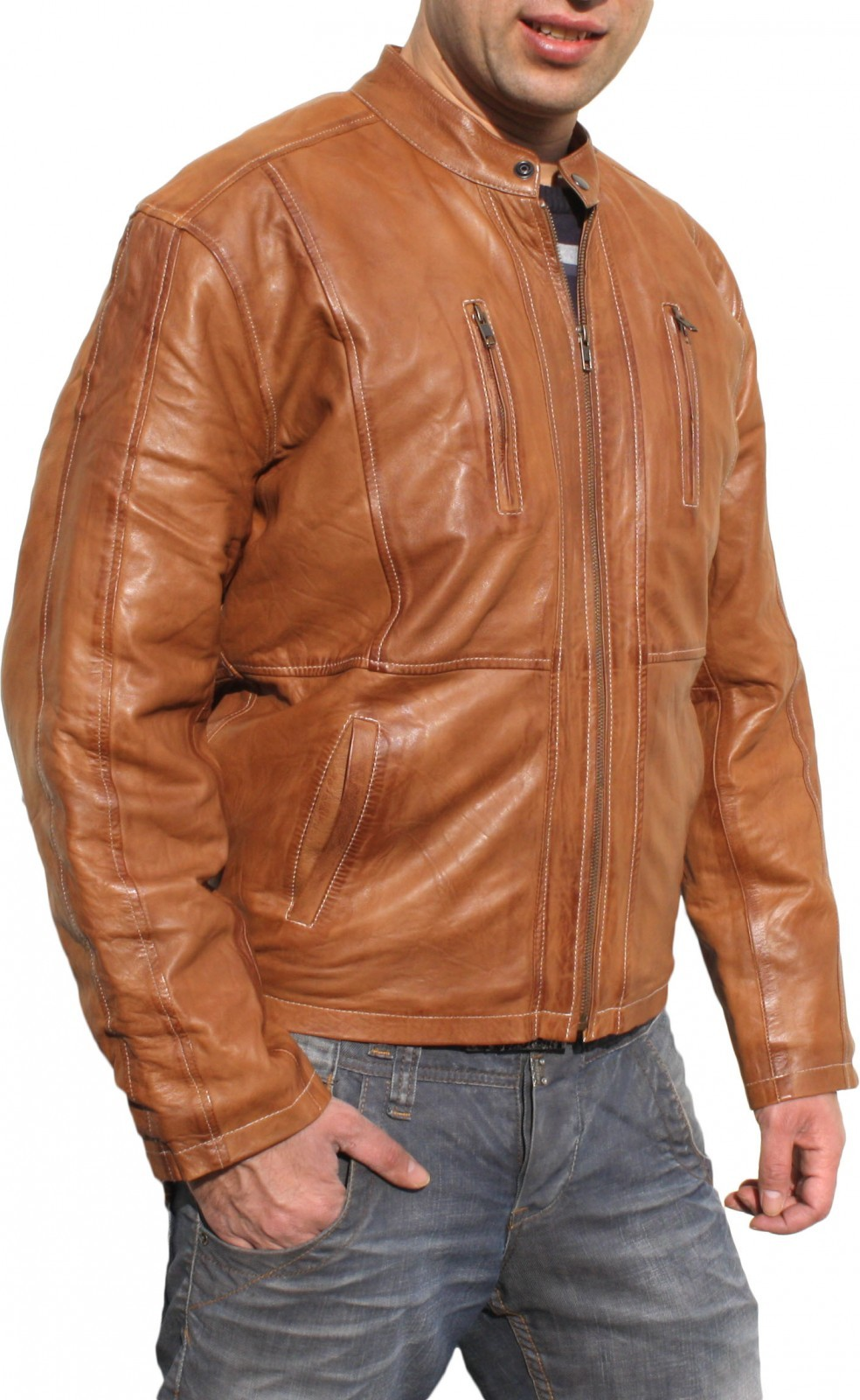 Men Leather Jacket Fashion Sheep Skin Lamb Nappa-LeatherColor Brown