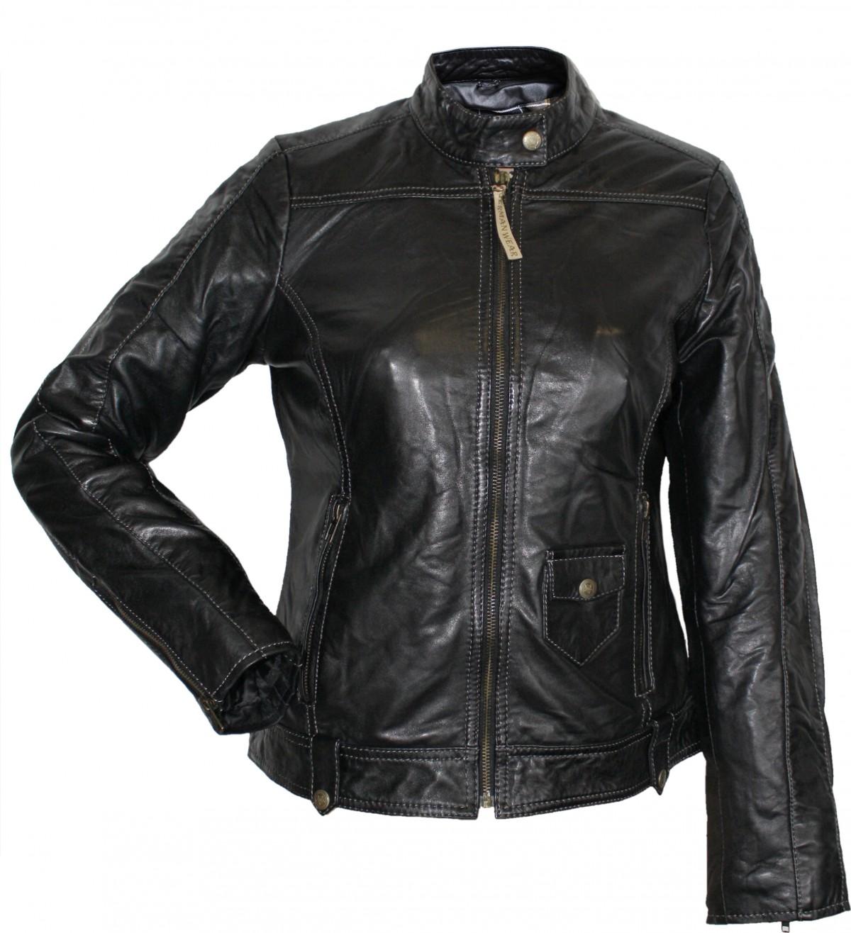 Ladies Leather Jacket Fashion Lamb Nappa-leather Colour Black