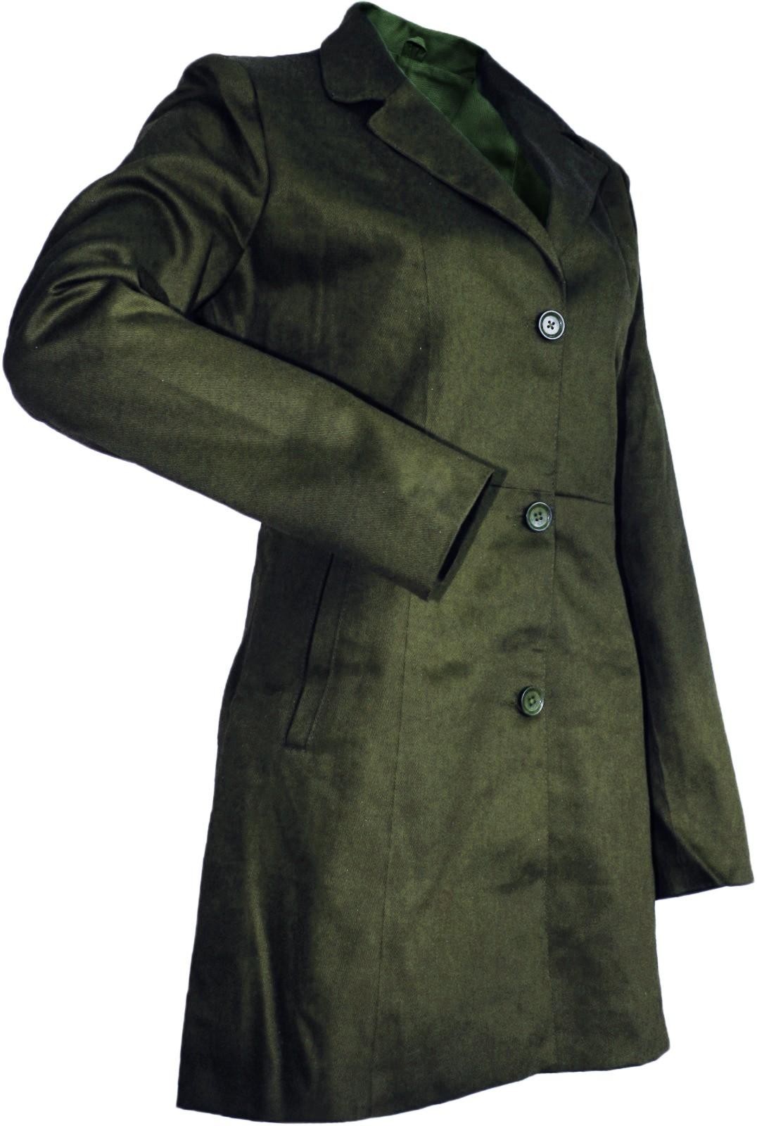 damen mantel trenchcoat aus baumwolle oliv. Black Bedroom Furniture Sets. Home Design Ideas